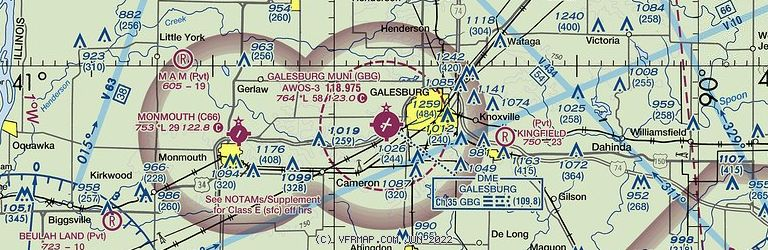 Sectional Image of Galesburg Municipal Airport   (KGBG airport)