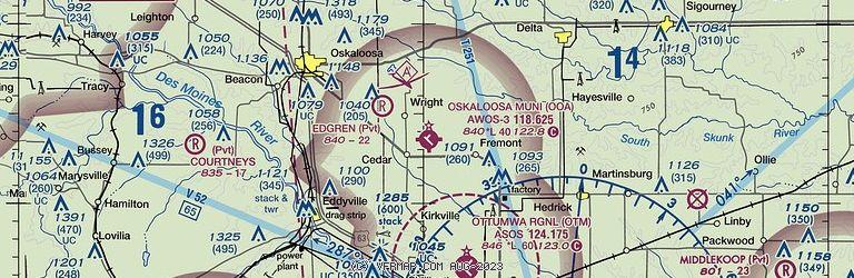 Sectional Image of Oskaloosa Municipal Airport   (KOOA airport)
