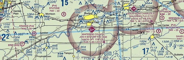 Sectional Image of Whiteside Co Airport-Jos H Bittorf Field   (KSQI airport)