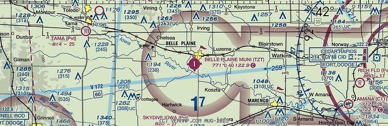Sectional Image of Belle Plaine Municipal Airport   (KTZT airport)