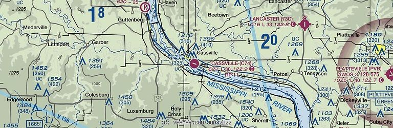 Sectional Image of Cassville Municipal Airport   (C74 airport)