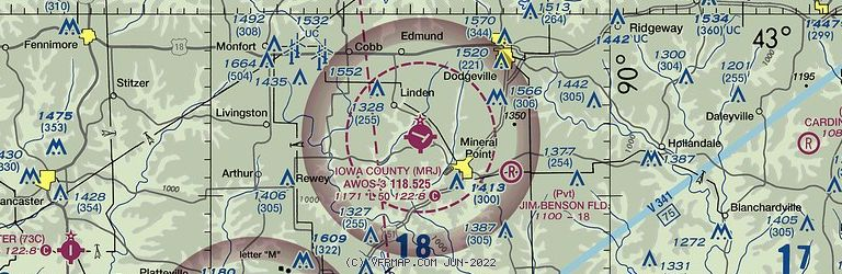 Sectional Image of Iowa County Airport   (KMRJ airport)