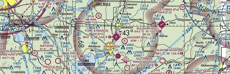 Sectional Image of Fort Atkinson Municipal Airport   (61C airport)