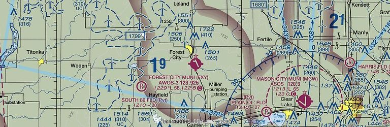 Sectional Image of Forest City Municipal Airport   (KFXY airport)