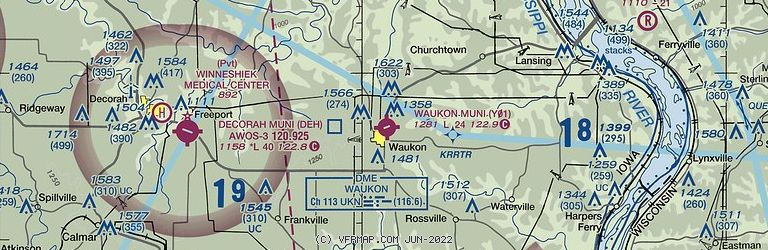 Sectional Image of Waukon Municipal Airport   (Y01 airport)