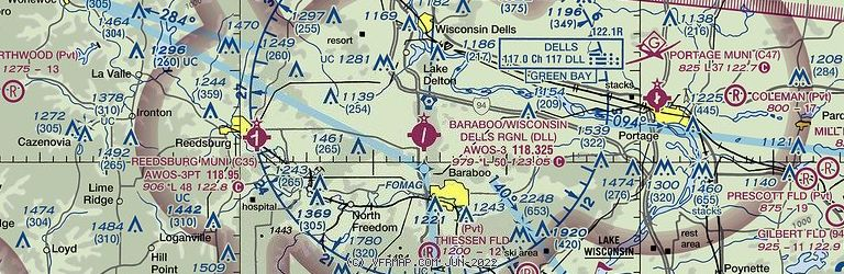 Sectional Image of Baraboo Wisconsin Dells Airport   (KDLL airport)