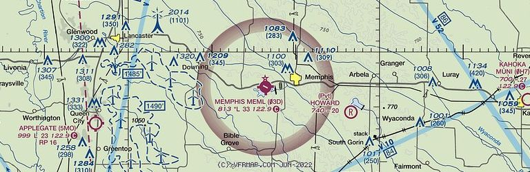 Sectional Image of Memphis Memorial Airport   (03D airport)