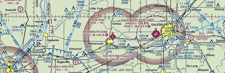 Sectional Image of Monmouth Municipal Airport   (C66 airport)