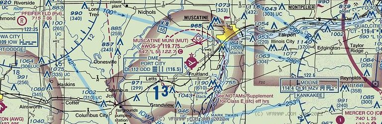 Sectional Image of Muscatine Municipal Airport   (KMUT airport)