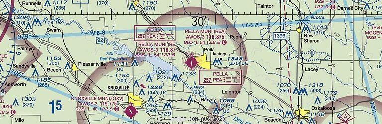 Sectional Image of Pella Municipal Airport   (KPEA airport)