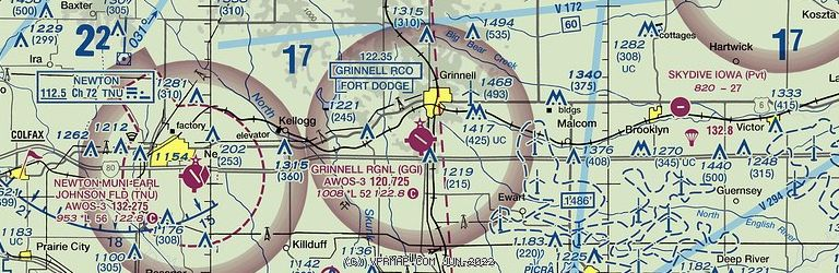 Sectional Image of Grinnell Regional Airport   (KGGI airport)