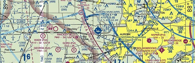 Sectional Image of Aurora Municipal Airport   (KARR airport)