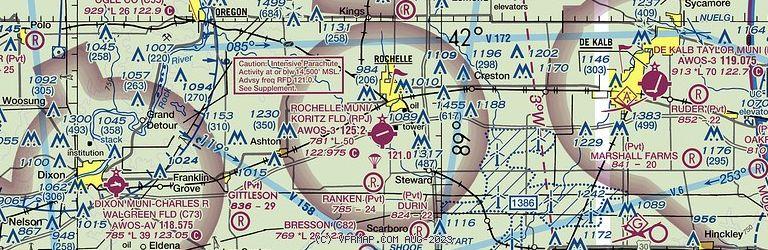 Sectional Image of Rochelle Municipal Airport-Koritz Field   (KRPJ airport)