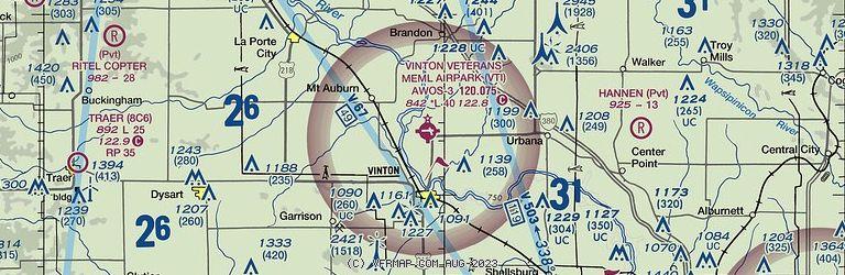 Sectional Image of Vinton Veterans Memorial Airpark Airport   (KVTI airport)