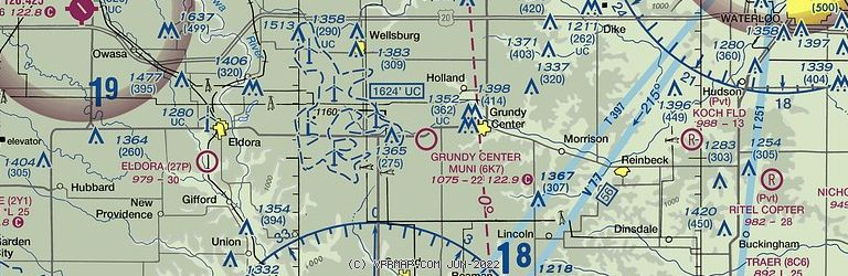 Sectional Image of Grundy Center Municipal Airport   (6K7 airport)