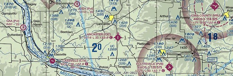 Sectional Image of Lancaster Municipal Airport   (73C airport)