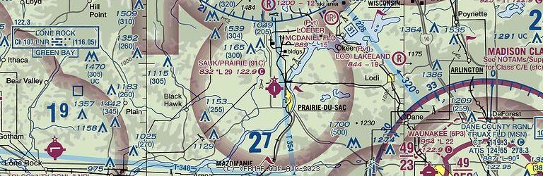 Sectional Image of Sauk-Prairie Airport   (91C airport)