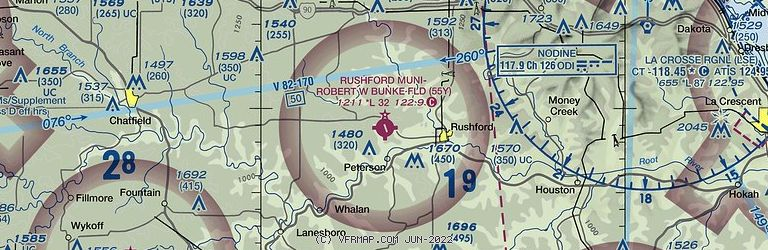Sectional Image of Rushford Municipal Airport   (55Y airport)
